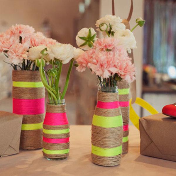 Как задекорировать вазу для цветов своими руками