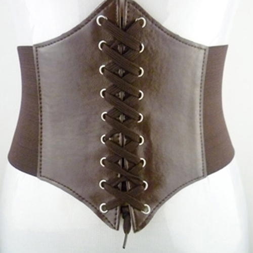 Women Vintage Stretchy Faux Leather Wide Waist Belt Corset - 5 Colors to Select