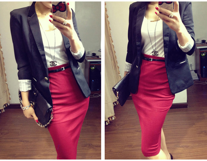 Womens Lady Office High Waisted Belted Pencil Skirt Stretch ...