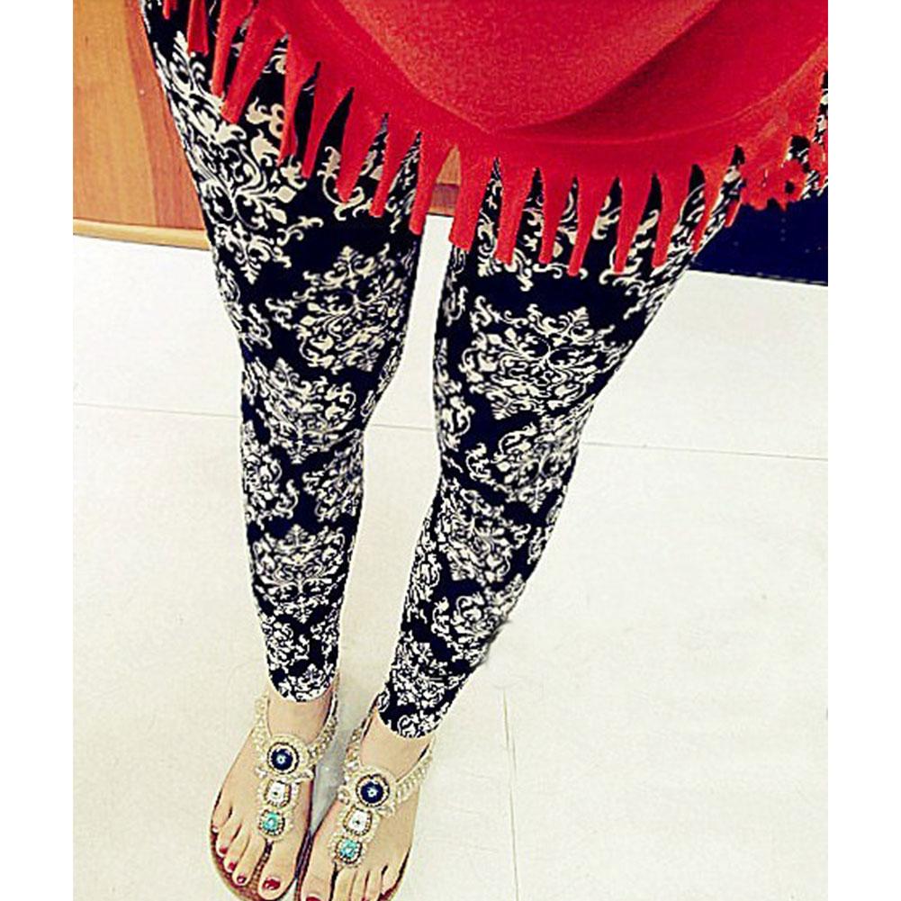Hot! Casual Women Leggings Stretchy Pencil Skinny Black White Procelain