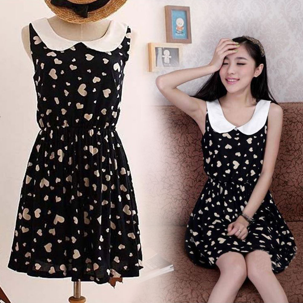 Hot Summer Slim Peter Pan Collar Sleeveless Vest Mini Dress Casual Skirt