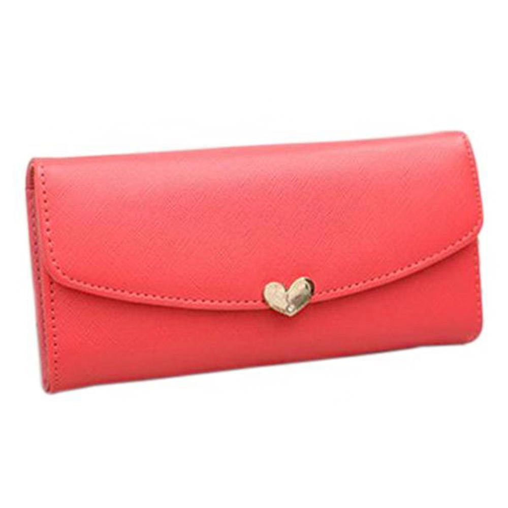 Hot Women's Button Leather Clutch Wallet Purse Card Lady Long Handbag Heart