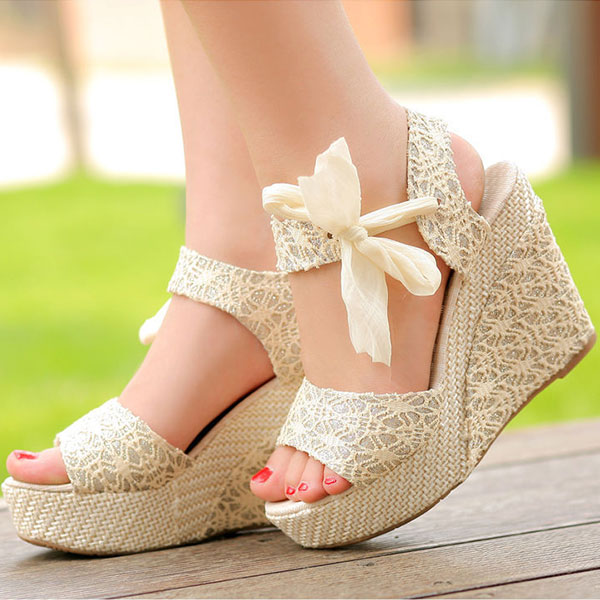 Summer Womens Lady Wedge Platform Sandals Bowknot Ankle Lace Strap Shoes