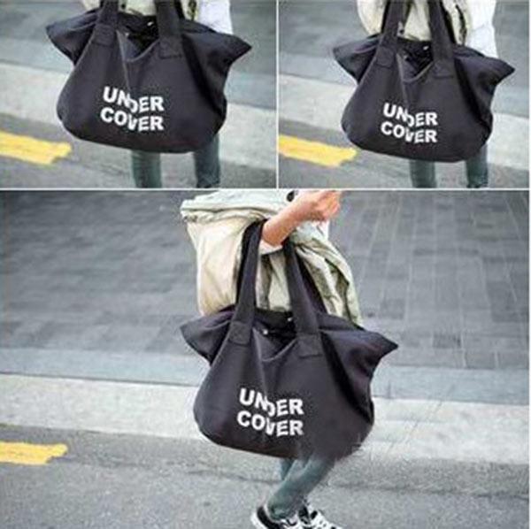 New Fashion Women Casual Canvas Handbag Letter Printed Shoulder Big Bag White