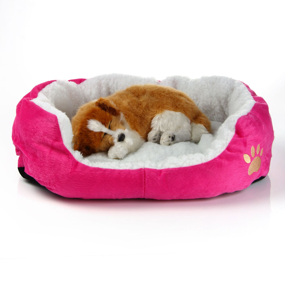 Pet Dog Cat Kitten Fleece Warm Bed Kennel Plush Mat Comfy Pad Washable