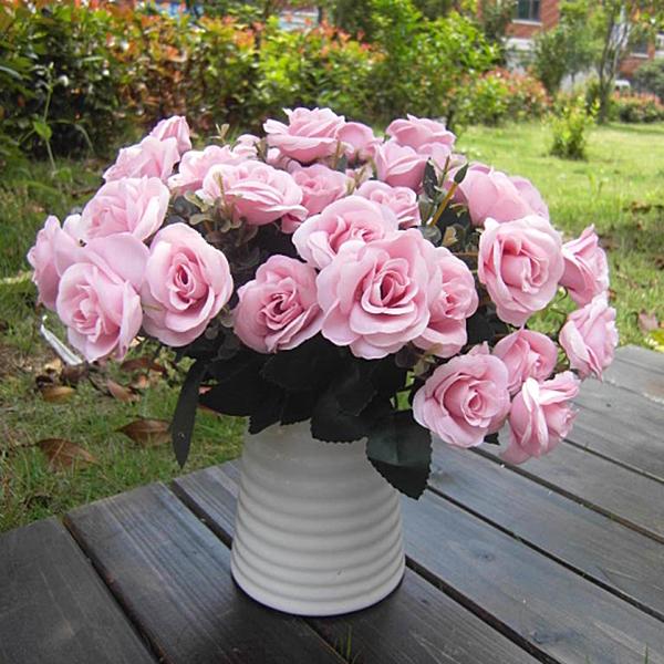 Artificial Rose Silk Flowers 12 Flower Head Leaf Home Wedding Decor DIY
