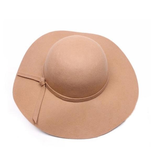 Stylish Vintage Women's Wide Brim Wool Bowler Fedora Hat Cloche Sun Cap
