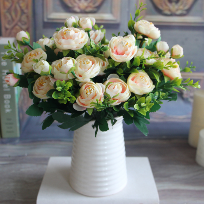 Realistic 6 Branches Artificial Fake Peony Flower Home Room Wedding Decoration