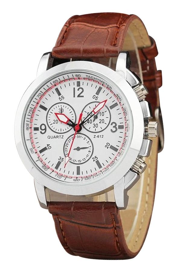 Fashion Classic Men Leather Band Strap Quartz Wrist Watch Stainless Case