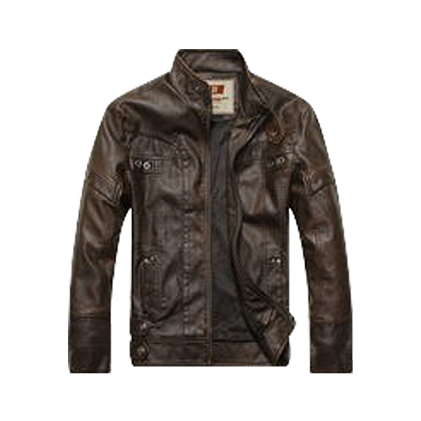 Fashion Thick Men's Leather Motorcycle Standing Collar Jackets Coat M/L/XL