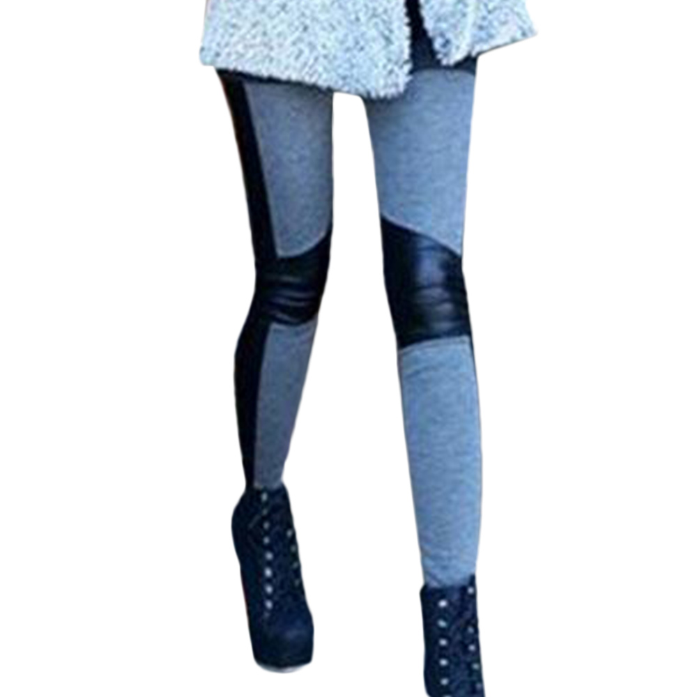 New Women Skinny Slim Fit Casual PU Leather Elastic Stretchy Pencil Leggings