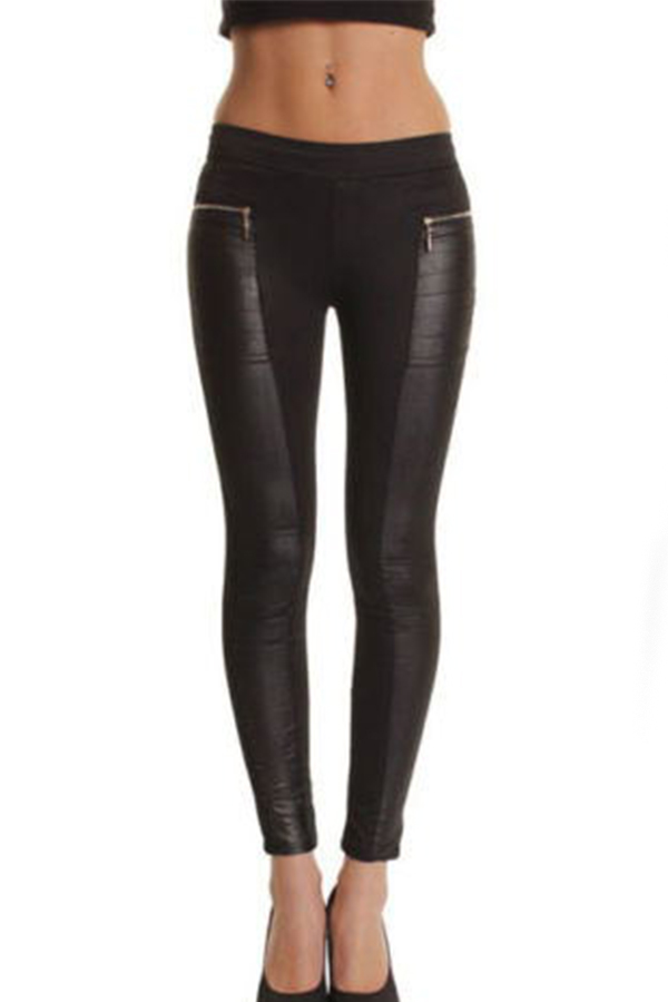 New Women Lady Winter PU Leather Stylish Zip Splicing Black Leggings Pants