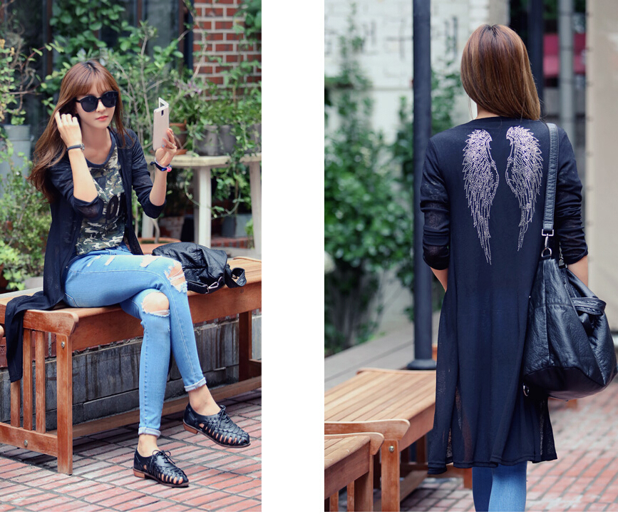 New Fashion Women Korean Wing Slim Knit Long Tops Blouse Coat Long Cardigan