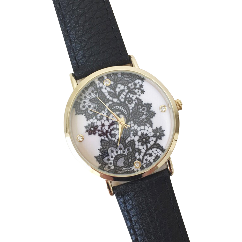 Lace Print Women's Ladies alloy metal Leather Wrist Watches White/Black