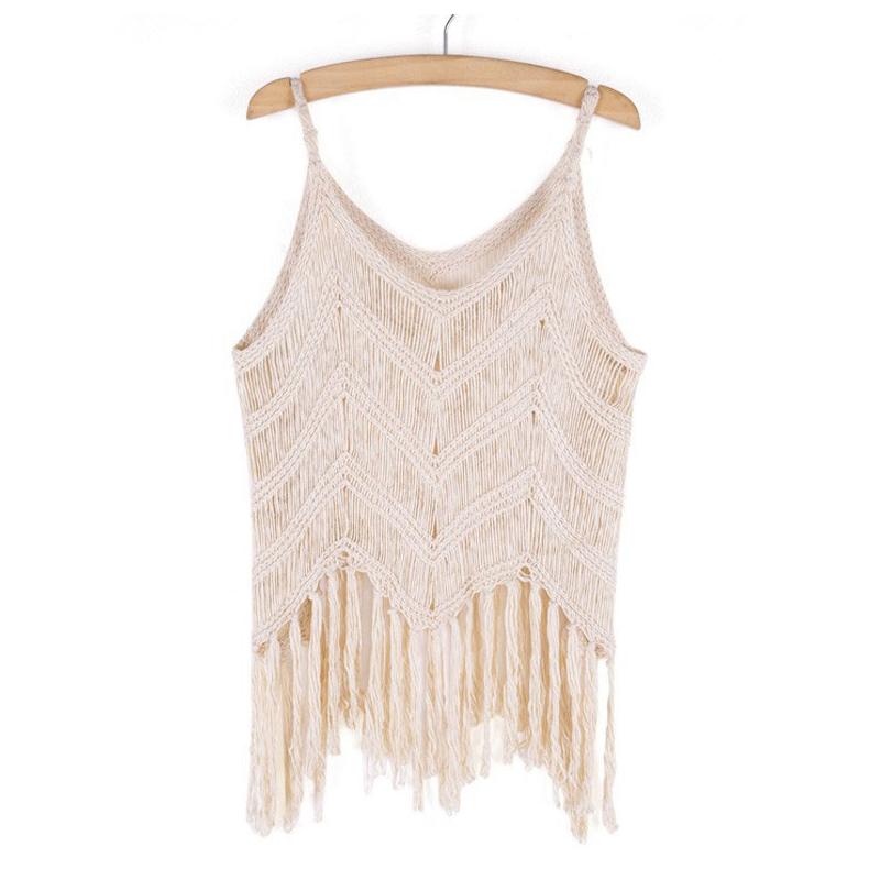 New Women Knit Tassel Sleeveless V Neck Short Shirt Blouse T-Shirt Crop Top