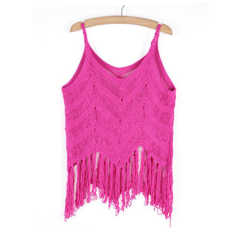 New Women Knit Tassel Sleeveless V Neck Short Shirt Blouse T-Shirt Crop Top