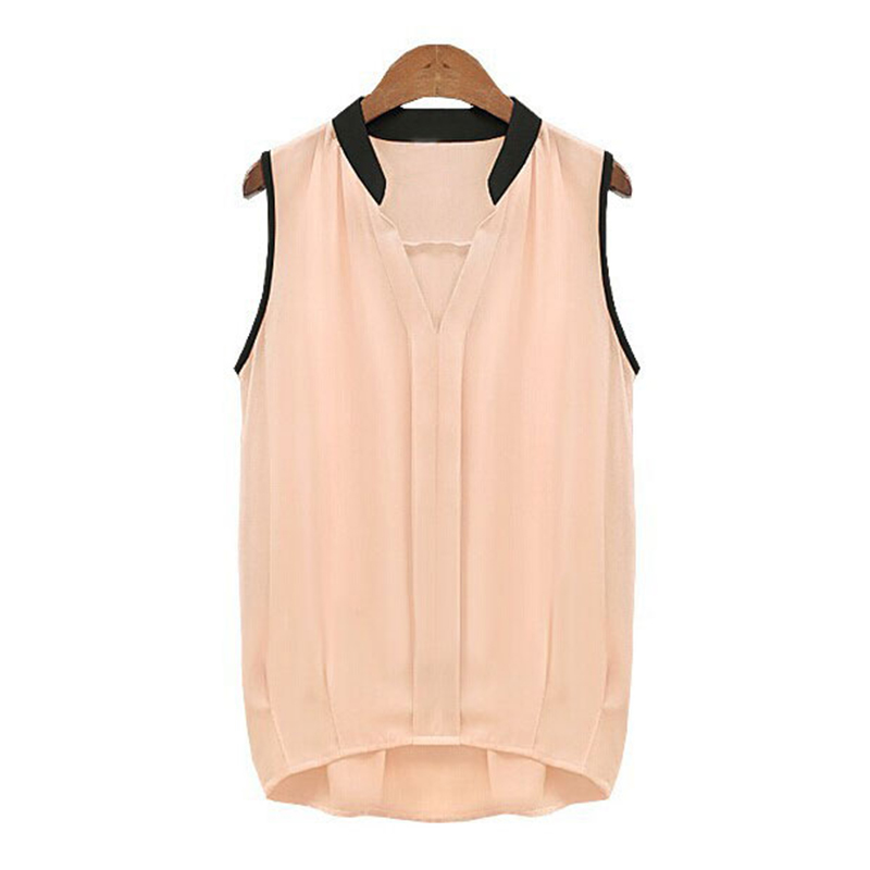 New Women Sexy Sweet Slim Fit Sleeveless Chiffon Stand Collar Tops Tee T-Shirt