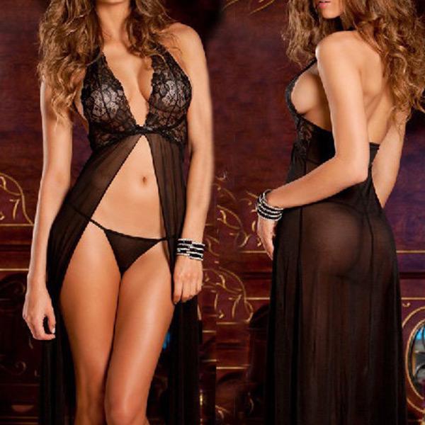 Hot Women Sexy Lingerie Hollow Out Babydoll Nightdress Lace Sleepwear G-String