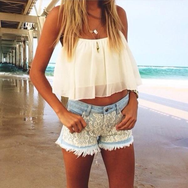 Women Sexy Slim Fit Sleeveless Backless Chiffon Layers T-Shirt Crop Top