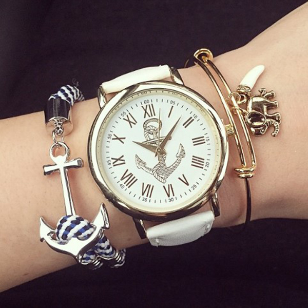 Women Fashion PU Leather Roman Numerals Anchor Watch Wristwatch Delightful