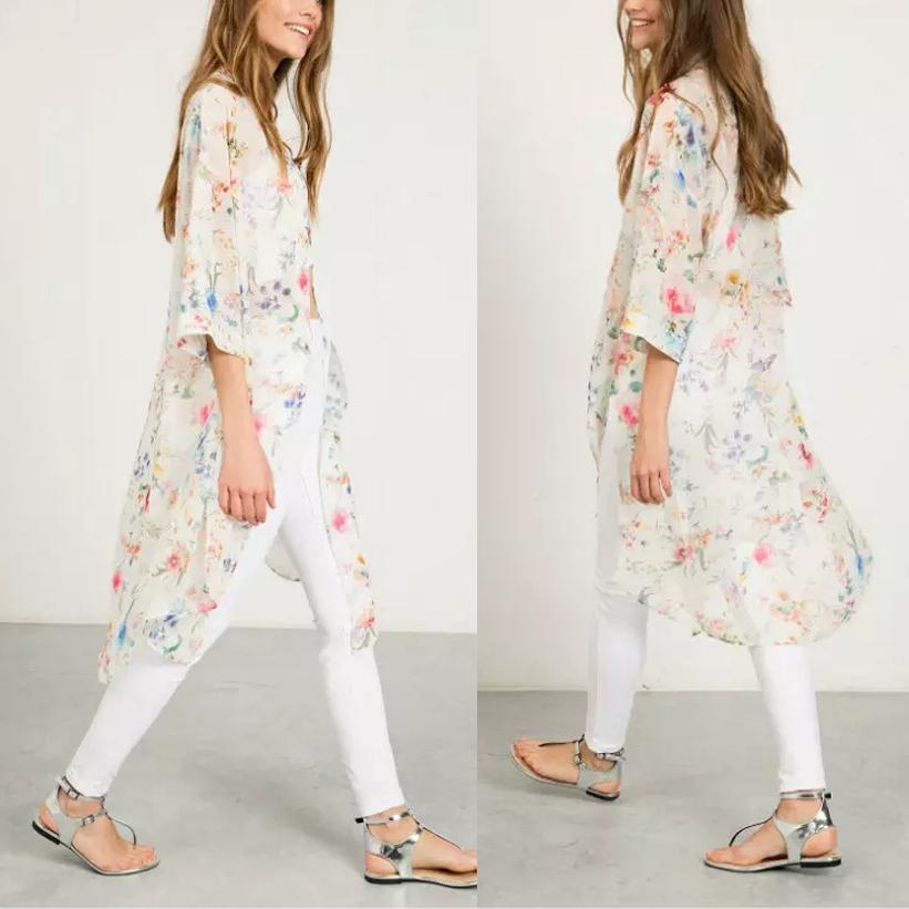 New Women Chiffon Tops Blouse Kimono Jacket Long Sleeve Sunblock Beach Cardigan