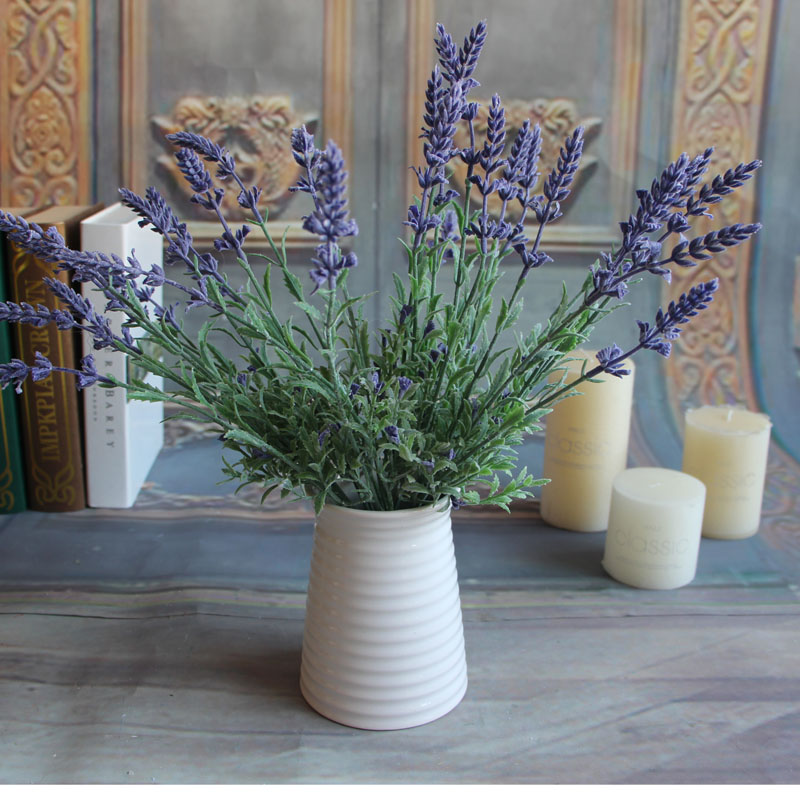 Fresh Green Fake Plants Flower Lavender Leaves Grass Garden Flowers Arrangement