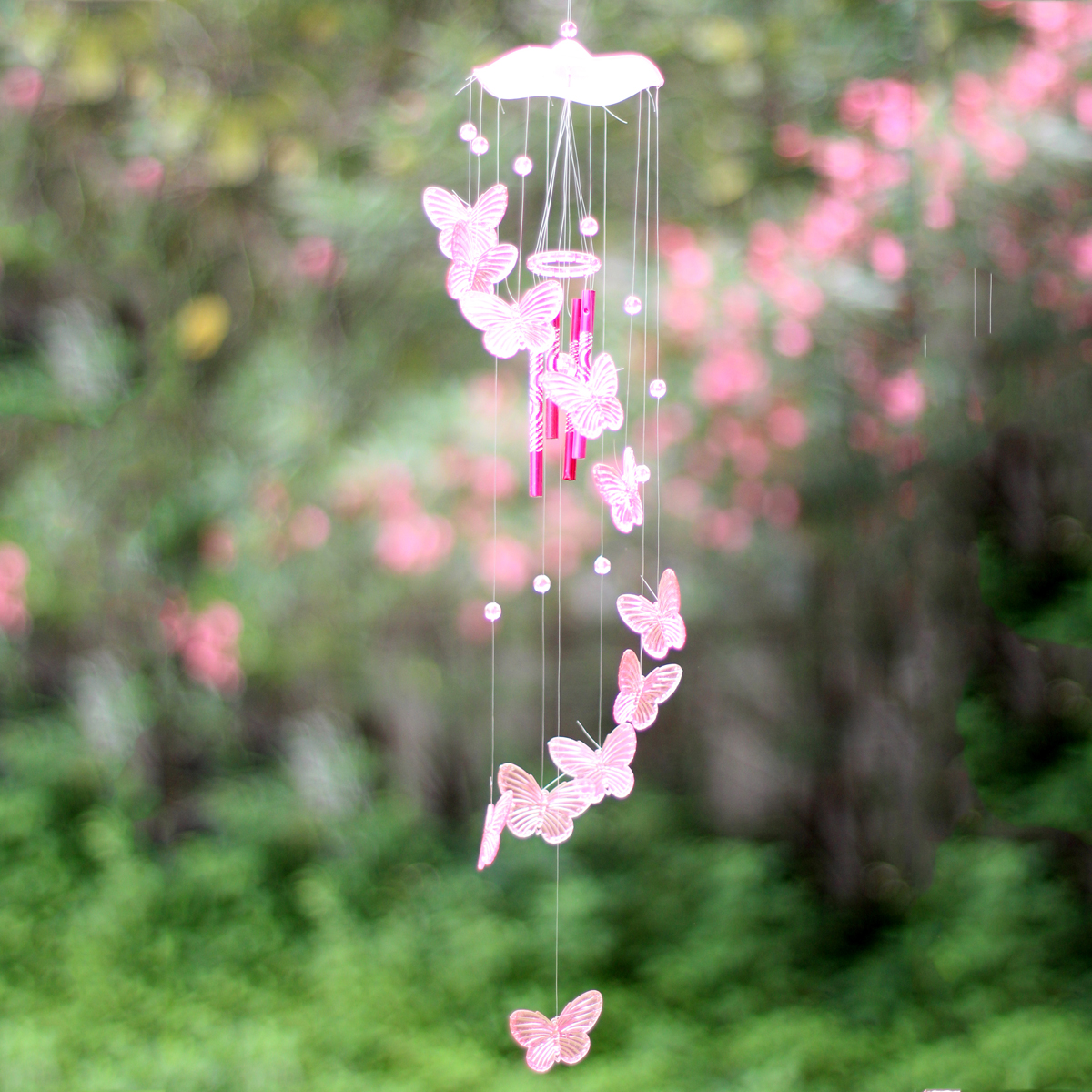Crystal butterfly mobile wind chime bell garden ornament for Outdoor hanging ornaments