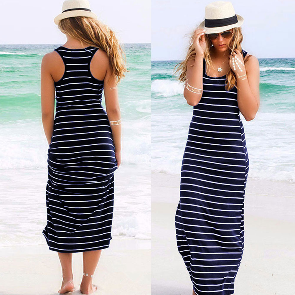 New Women's Lady Sleeveless Beach Strip Evening Long Maxi Sundress Dress