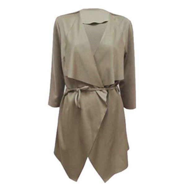 Women Lapel Belt Jacket Slim Fashion Long Sleeve Trench Coat Parka Outwear