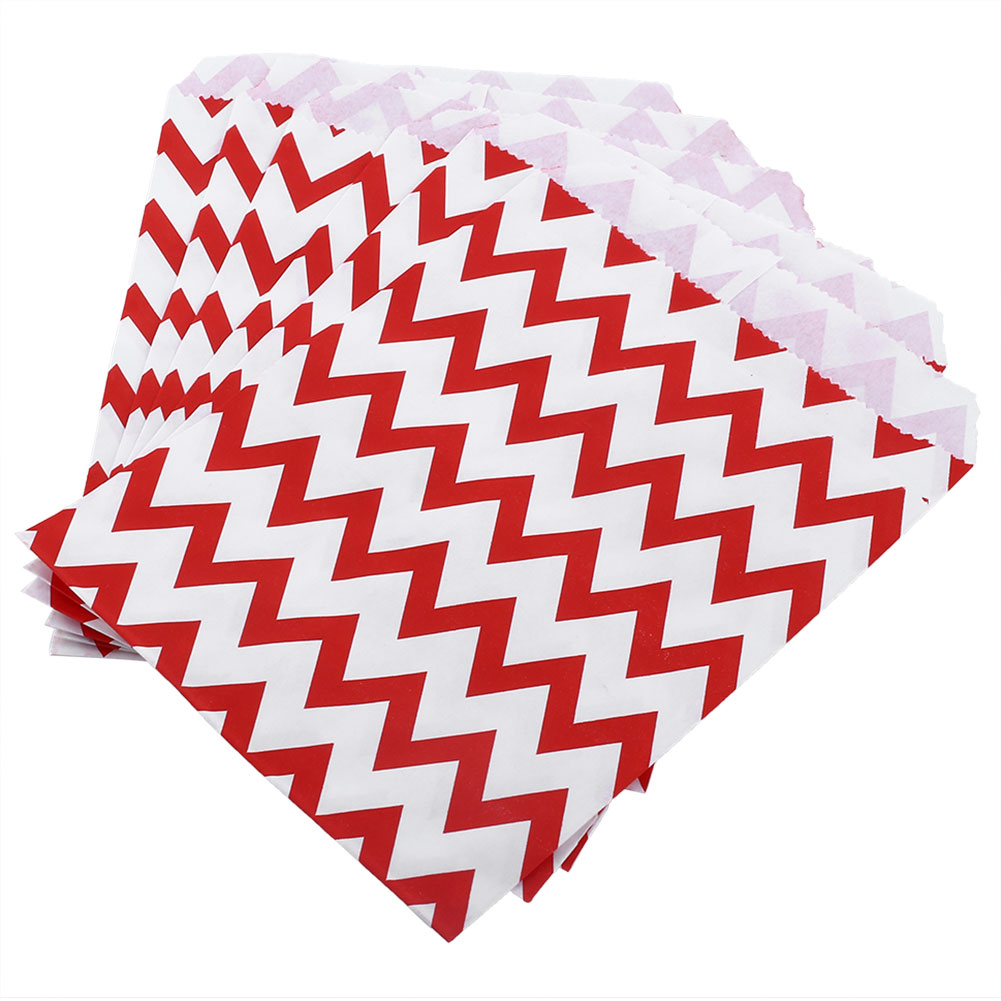 25X Chevron Wedding Birthday Sweet Candy Favour Popcorn Treat Paper Bags 7Color