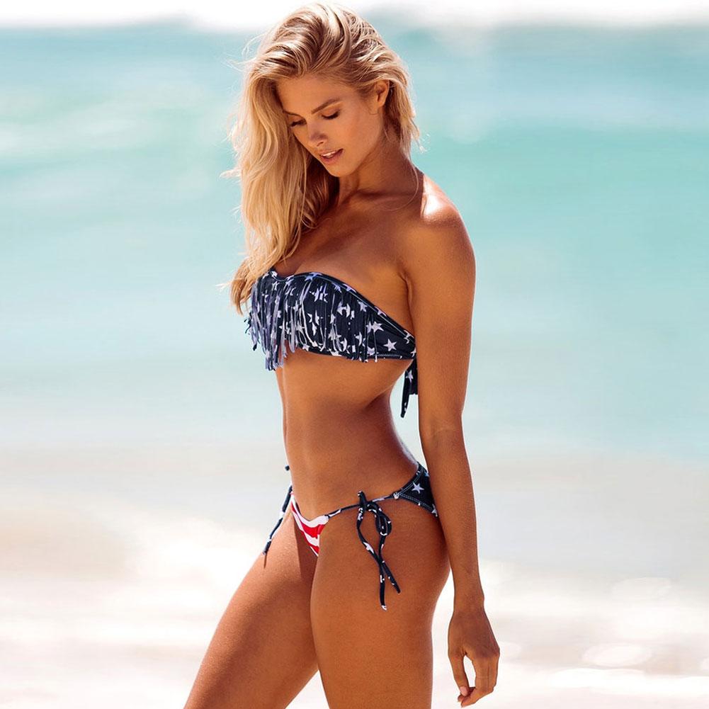 Women-039-s-American-Flag-US-Stars-Bikini-Push-up-Padded-Beachwear-Swimsuit