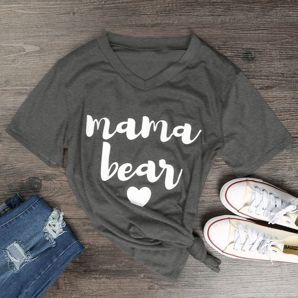 F8EF-Womens-V-Neck-Funny-Letters-Printed-T-Shirts-Fashion-Loose-MAMA-BEAR-Tops