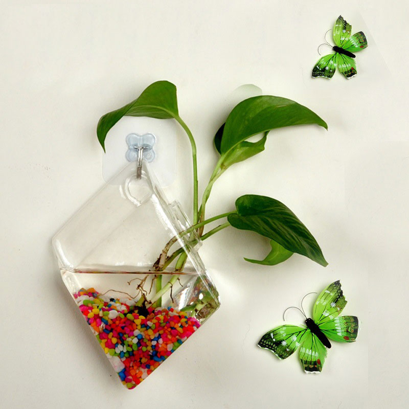 Wall-Glass-Hydroponic-Water-Plant-Flower-Clear-Container-Hanging-Vase-Home-Decor