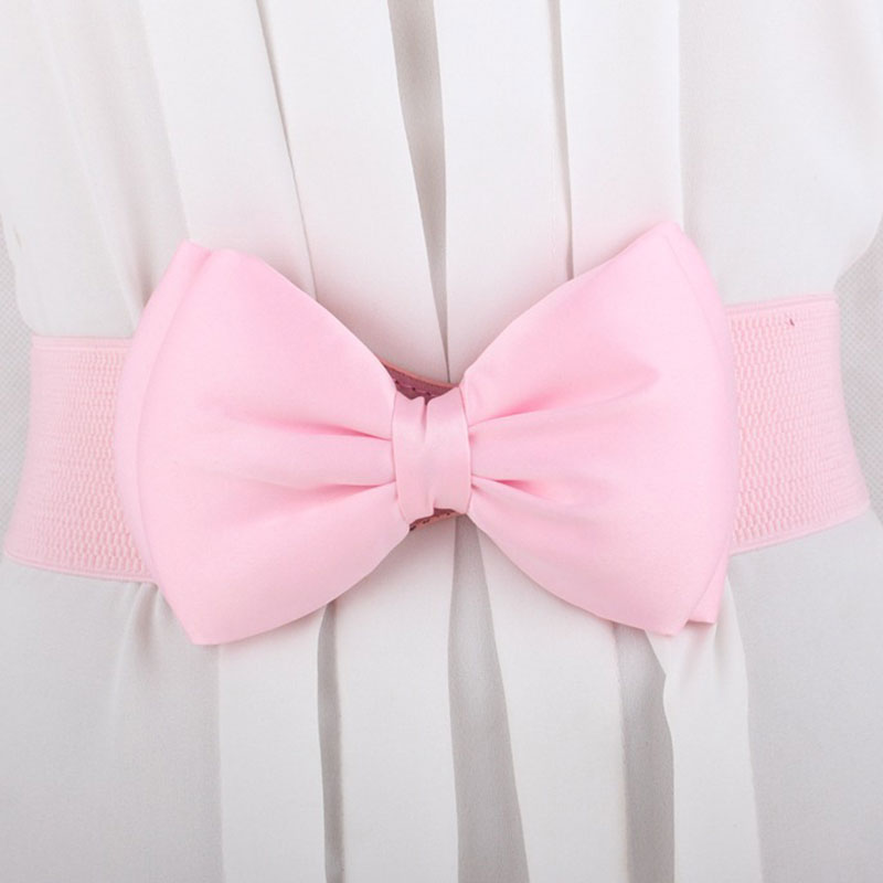 Women-Lace-Elastic-Wide-Bowknot-Chic-Bow-Buckle-Lovely-Waist-Belt-Waistband