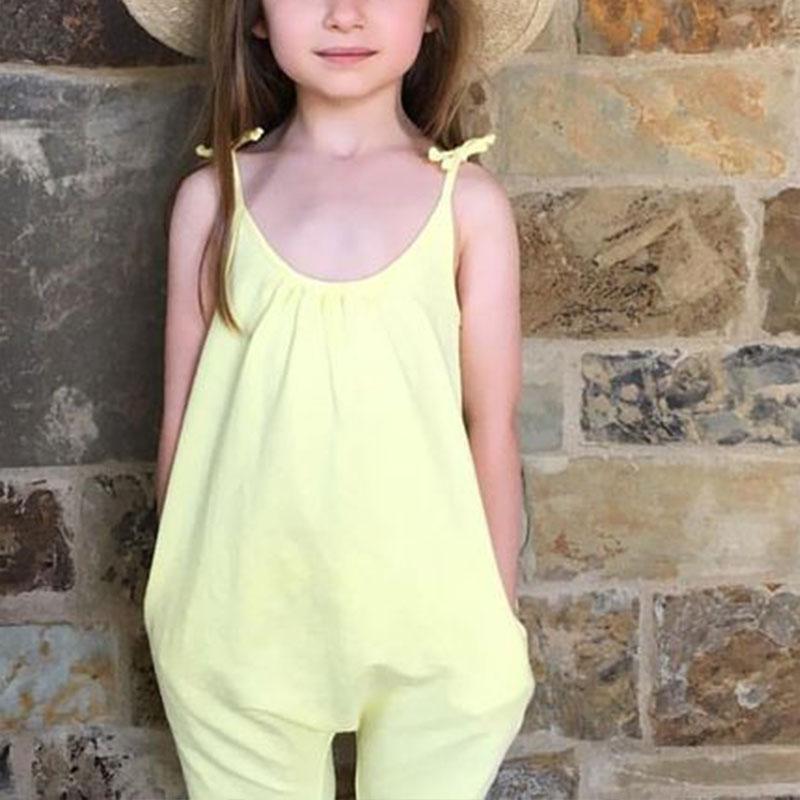 Jumpsuit-Girl-Children-Solid-Color-Gallus-Open-Stitch-Sleeveless-Off-Shoulder