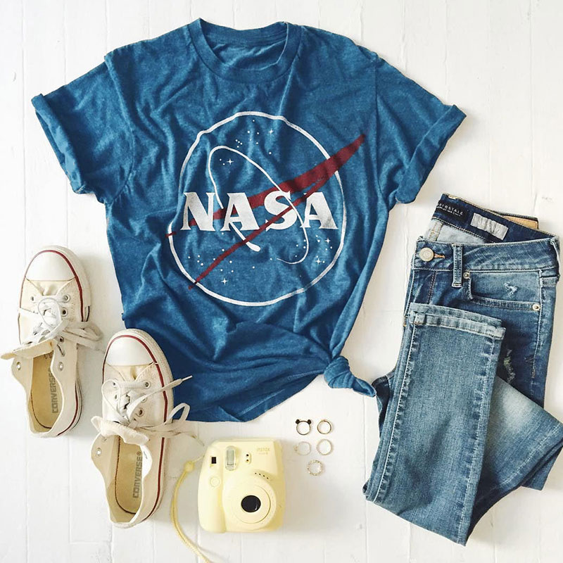 Fashion-Women-Casual-Letter-Space-Graphic-Tee-Short-Sleeve-Tops-T-Shirt