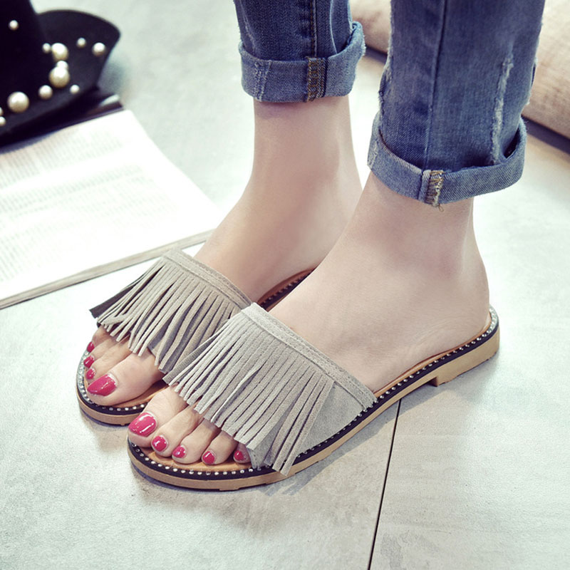 Womens-Ladies-Tassels-Sandals-Falt-Slippers-Summer-Korea-Boho-Holiday-Shoes