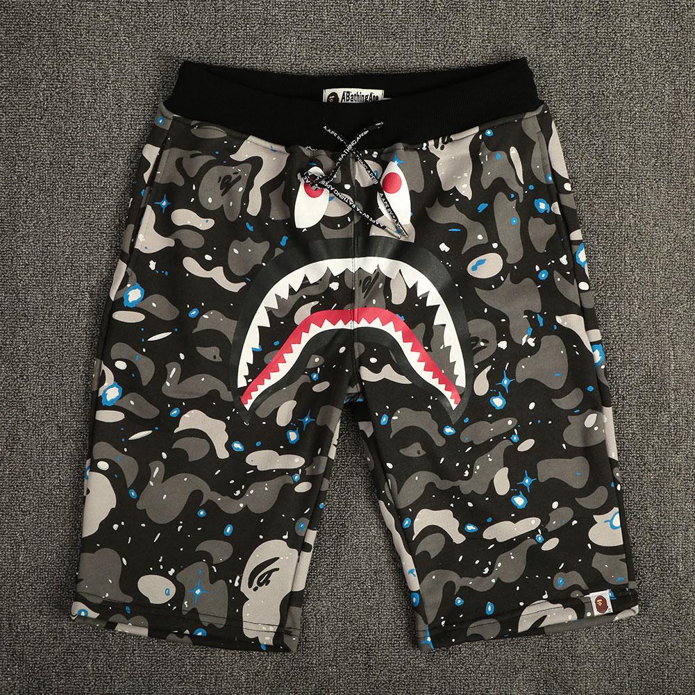 Hot-Mens-Boy-Popular-Bape-Ape-Casual-Camo-Short-Pants-Shark-Head-Beach-Shorts