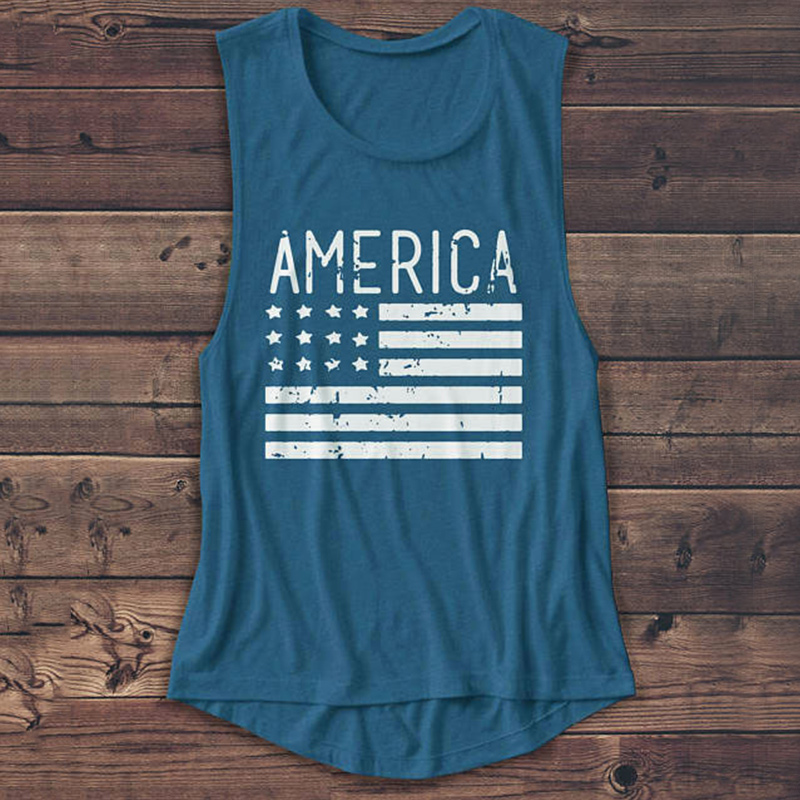 Stars-And-Stripes-USA-Flag-Top-Women-Girls-Sleeveless-Vest-Casual-Loose-Tee