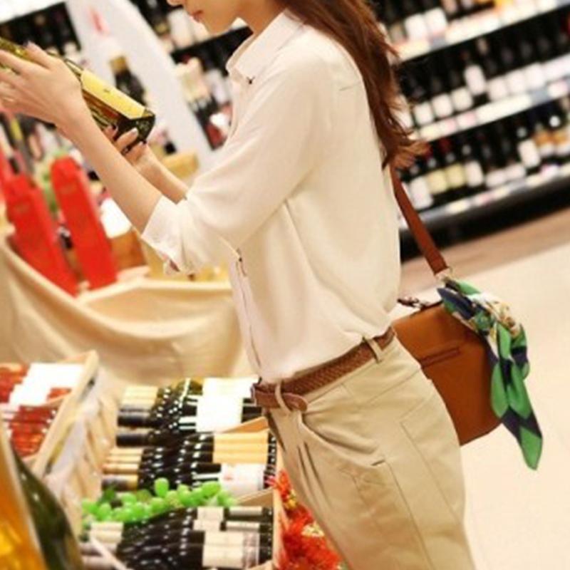 Women-Shirt-Chiffon-Button-Down-Turn-Down-Collar-Lapel-White-No-Pattern