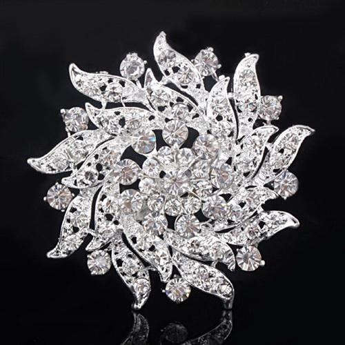 Rhinestone Crystal Gold Plated Bouquet Flower Brooch Pin Wedding Bridal Clasp
