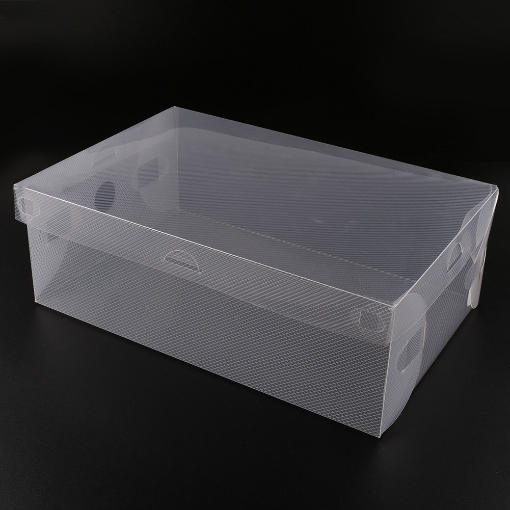 10pcs clear plastic shoe storage box transparent stackable foldable holder lot ebay. Black Bedroom Furniture Sets. Home Design Ideas