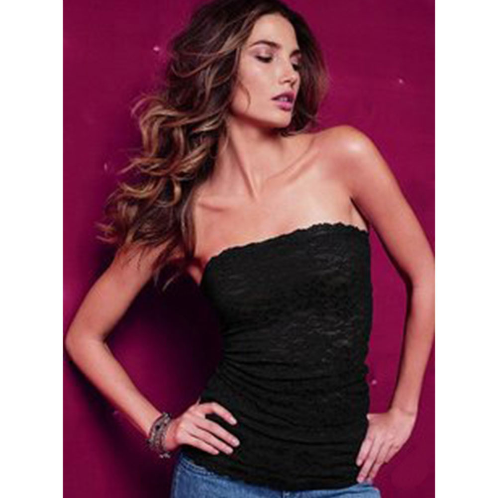 Hot Sale Women Fashion Strapless Clubwear Lace Tube Top Bandeau Stretch Ribbed