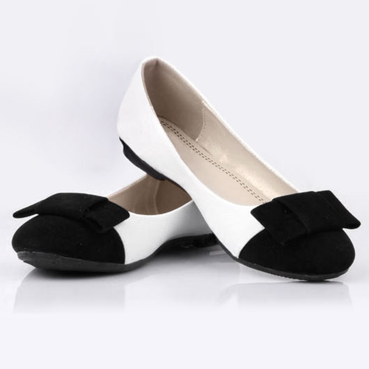 Hot women's Lady Girl Round Toe Casual Flat OL Comfortable Bowknot Shoes Black