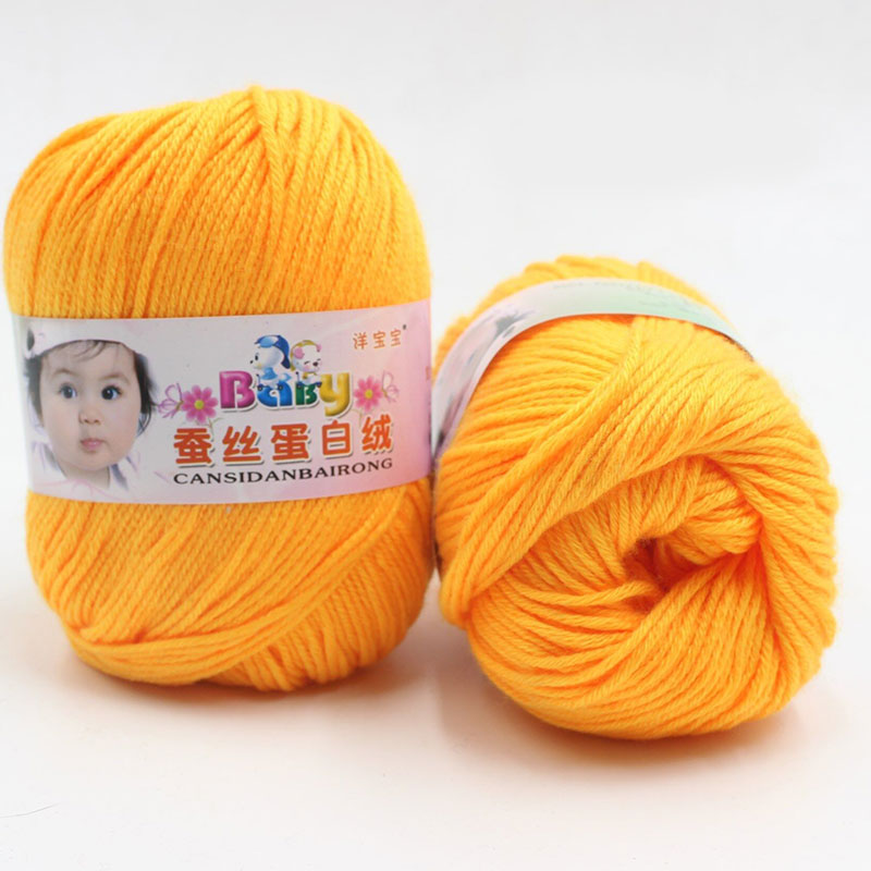 Pure Worsted Soft Warm Silk Wool Fibe Baby Skein Knitting Woolen Yarn 50g