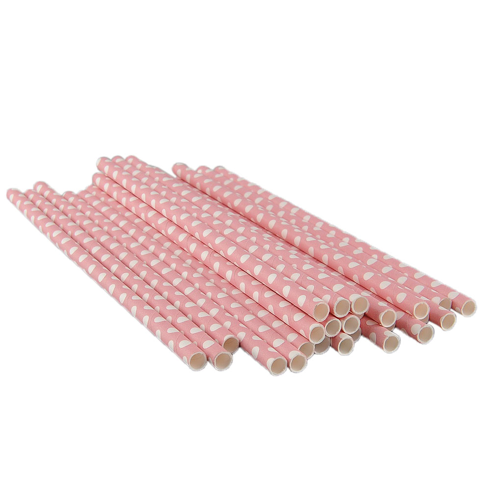 25 PCS Small Polka Dot Paper Drinking Straws For Club Wedding Party Prom