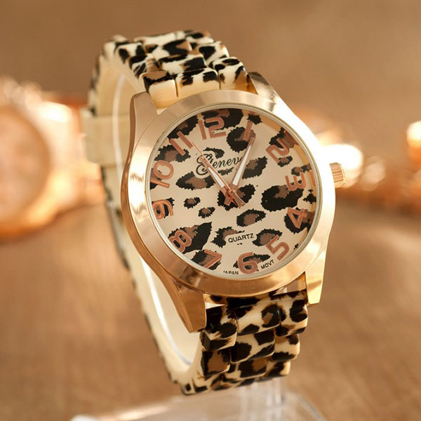 Fashion Round Dial Wrist Watch Silicon Leopard Printed Band Strap Girl Women