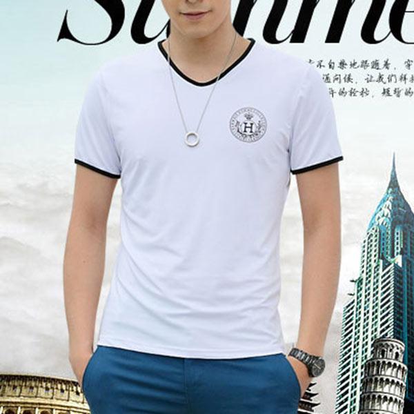 Hot Summer Fashion Men Milk Silk Short Sleeves T-Shirts Top Blouse S M