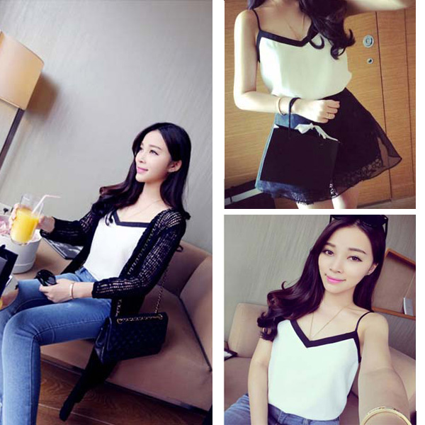 Fashion NEW Women Summer Casual Chiffon V Neck Vest Tank Shirt Blouse