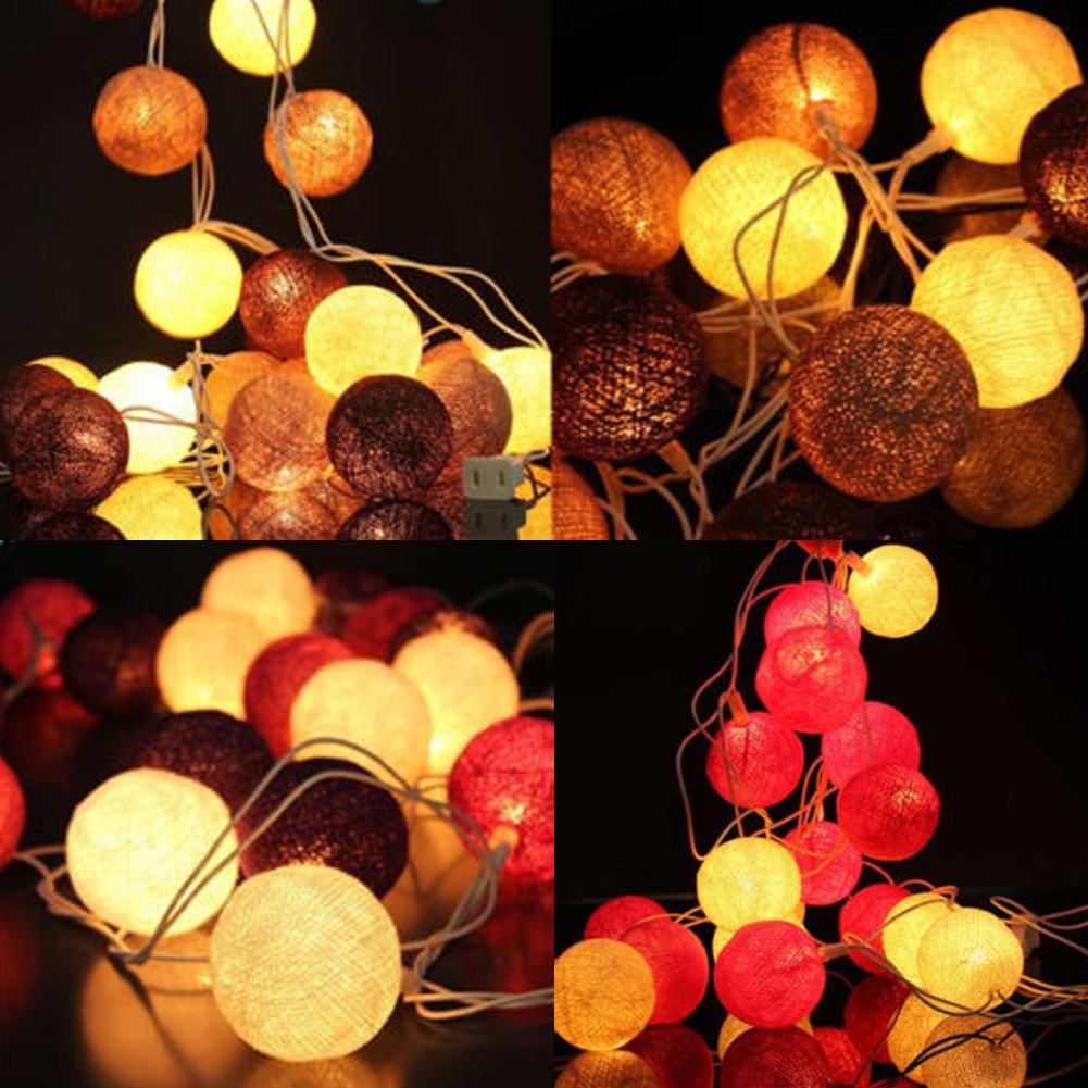 20 cotton ball fairy string lights lamp 3m for wedding. Black Bedroom Furniture Sets. Home Design Ideas